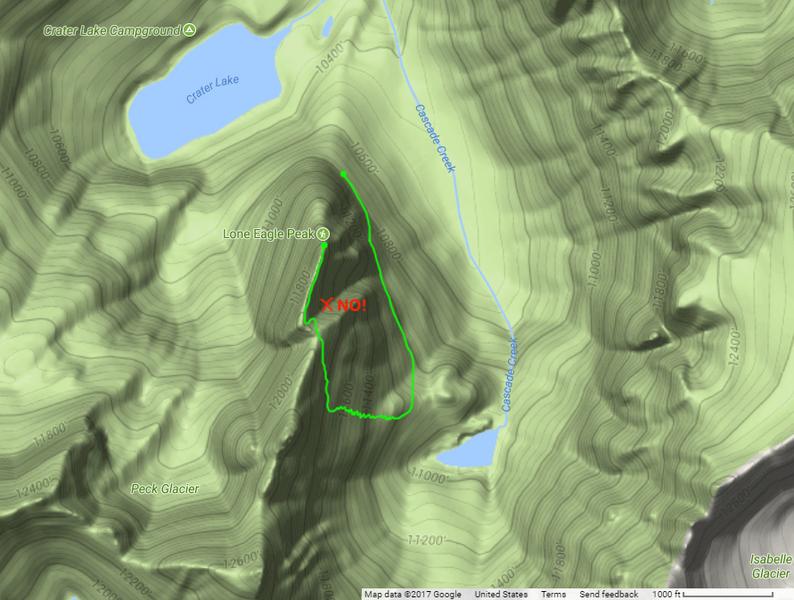 The descent route off Lone Eagle Peak.