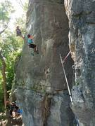 Rock Climbing Photo: The other fun pitch traversing on The Great River ...
