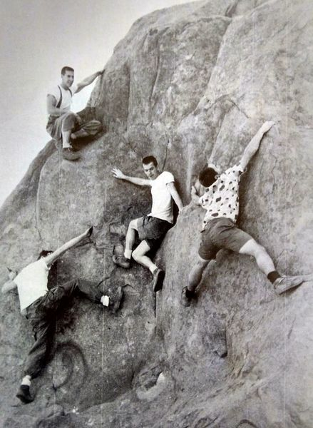 Tom Herbert, Harry Daley, Bob Kamps & Yvon Chouinard (counterclockwise from top) at Stoney Point (1960).<br> <br> Photo by Dave Rearick