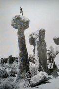 Rock Climbing Photo: Bob Kamps atop the Yo-yo (1968), Chiricahua Nation...