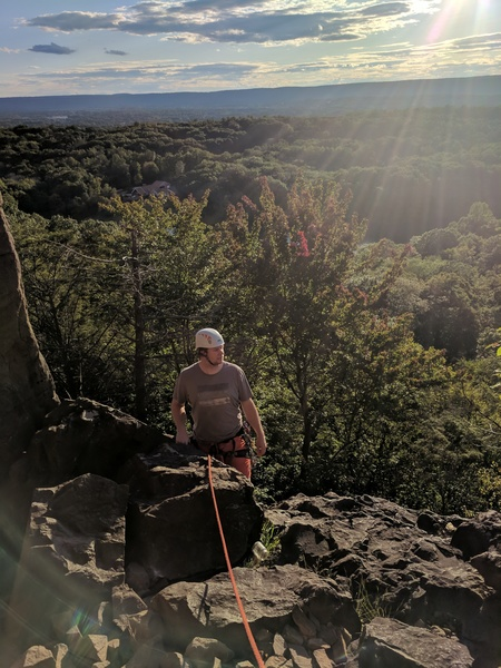 Boulder at top of Weissner Slab & belay station for 2nd pitch, Knight's Move.