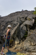 Rock Climbing Photo: A climber nearing the chains on the first pitch fr...