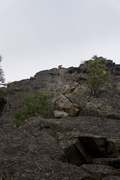 Rock Climbing Photo: A climber nearing the chains of the third pitch fr...