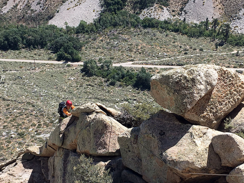 MoC, top of pitch 2, gear belay