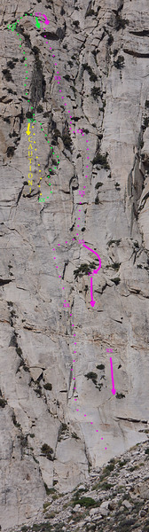 Tumbleweed Tales (purple) ascent and descent topo, use in conjunction with route description.  Masters Of Choss in green, Anger Management in yellow.