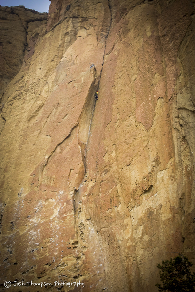 Zebra/Zion<br> Unknown climber on the 2nd pitch, in the dihedral