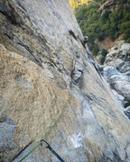Rock Climbing Photo: James pulling down on the crux second pitch. The 5...