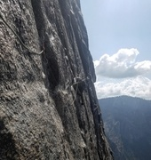 Rock Climbing Photo: 5.10R Traverse on pitch 9 is heads up! Feels like ...