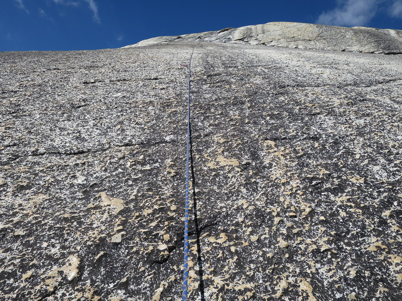 Looking up pitch 2 to the belay on a very comfortable ledge.