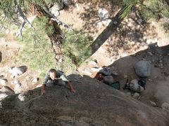 Soo nearing the top of Hubble (5.10b), Holcomb Valley Pinnacles