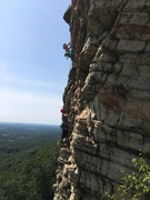Rock Climbing Photo: From the second belay. Unknown climbers.