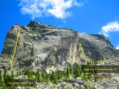 West Face Lions Head. The Splitter/offwidth route is visible on the left, while the disputed catacombs route is out of sight, tucked behind the protruding, near overlapping buttress with the bright yellow sliver on it, center of face.
