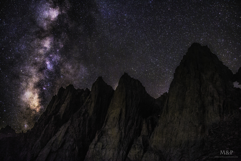 Milky way rising over Mt. Whitney and the Needles. The image was shot at 1.00 am from the Iceberg lake (12,600+ feet) at the foot of the East face of Mt. Whitney.<br> <br> The peaks seen in this frame are (L to R) - Third needle, Day needle, Keeler needle and on the far right Mt. Whitney.
