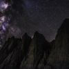 Milky way rising over Mt. Whitney and the Needles. The image was shot at 1.00 am from the Iceberg lake (12,600+ feet) at the foot of the East face of Mt. Whitney.