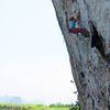 Climber on a steep 6c at Chong Pli