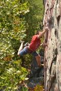 Rock Climbing Photo: Joel Allen working the Checkvalve move