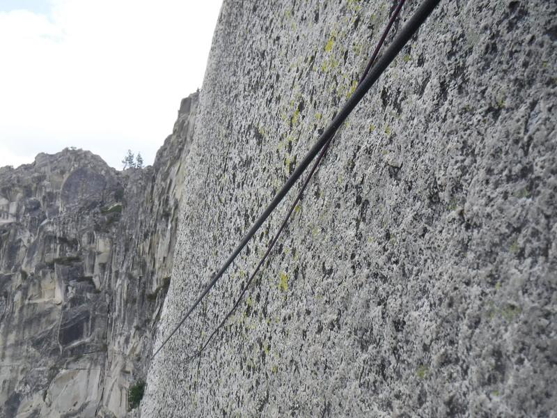 Rock Climbing Photo: Scrawny fixed line between corner and base of chim...