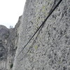 Scrawny fixed line between corner and base of chimneys on Regular NW Face of Half Dome.