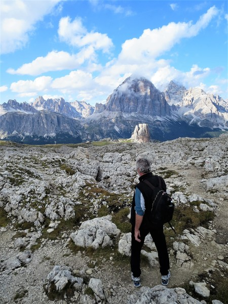 """The descent is dismissed in our description as """"easy"""". Easy it might be but for the length of the climb this is a relatively long and involved way down. Here getting quite close to Cinque Torri (with the magnificent Tofana Di Rozes behind) before doubling back to descend the via ferrata."""