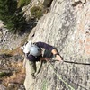 Nearing the belay atop P1.