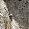 Traversing into the Belay on P2