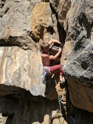 Rock Climbing Photo: Putting the finish touches on the crux sequence.