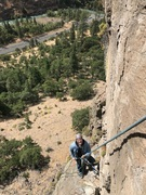 Belay ledge and chains at the top of pitch 1.  A 60 Meter rope gets you down from here.