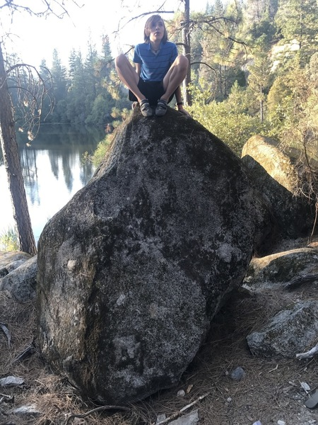 Alex McKenzie atop the boulder