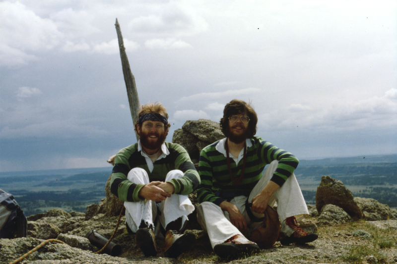 Dave Collingwood and Jim Hoste atop Devils Tower in 1980. Both were graduate students in mathematics at University of Utah at the time.