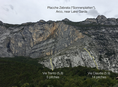 Overview of the the whole cliff. There are > 50 routes here