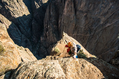 Rock Climbing Photo: Chris setting up the first rap.