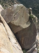 Rock Climbing Photo: Gabe heading out on Camptown Races from the top of...