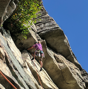 Ryan cruising the crux roof on P3