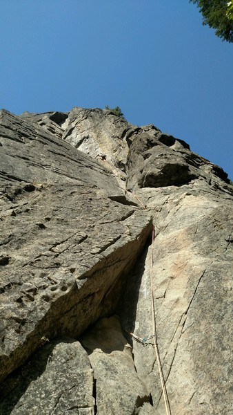 Pitch 1, direct start and right side crack