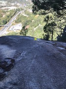 View of the rap descent from the top-out ledge.