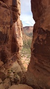 Rock Climbing Photo: Looking through the notch toward Monument Trail.