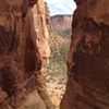 Looking through the notch toward Monument Trail.