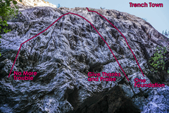 Rock Climbing Photo: Some of the routes at the main wall of Trench Town...