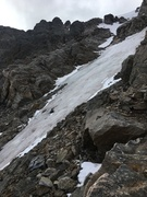 Nice alpine ice conditions, lower 60 meters of far right-side line, Sept. 23, 2017.