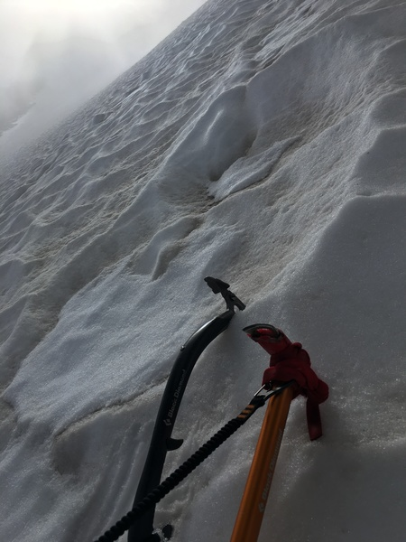 Mid-route snow steepness on far right side, Sept. 23, 2017.