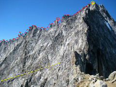 The East Ledges from the North Ridge. Route in Red, Ledges in Yellow