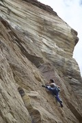Alex Reed during his first ascent of the route.