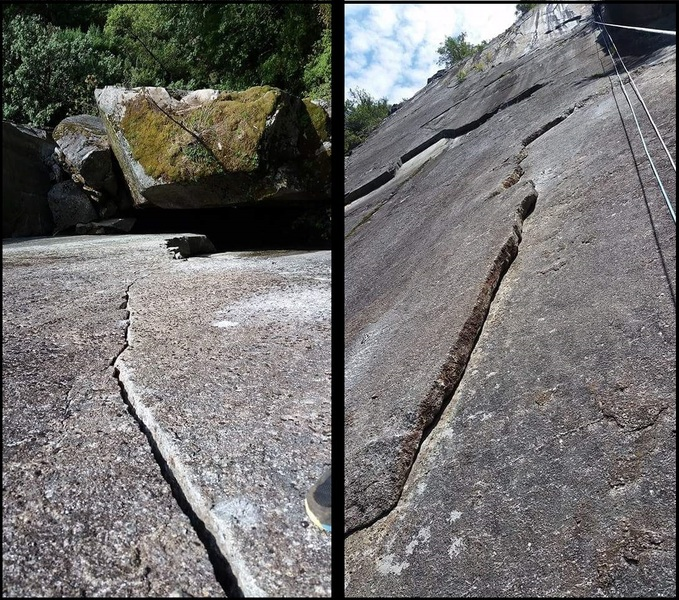 Left: P2 variation to the Dark Crystal.<br> Right: P4 looking up at the Zebra Headwall.