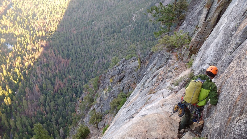 Final section of the Kat Walk. The East Buttress topout is somewhere in the middle of the photo