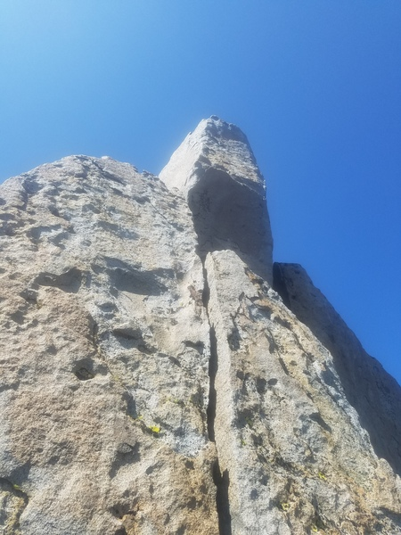 Looking up at the crux pillar.