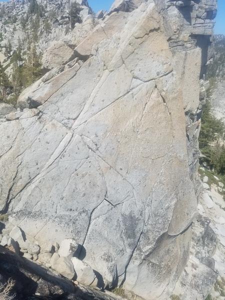 Cool triangular summit a little over half way through the climb