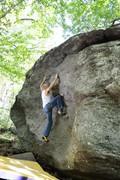"Rock Climbing Photo: Jeff working through ""Salute"" on the Roa..."