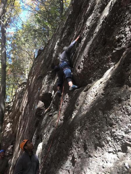 Michael climbing Pocket Position