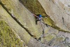 Rock Climbing Photo: Entering the difficult section of the route, only ...