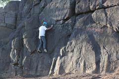 Traversing the cliff.